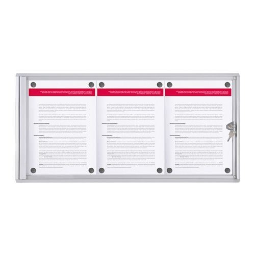 schaukasten xs line 3x din a4 metallr ckwand vitrine werbekasten infokasten info ebay. Black Bedroom Furniture Sets. Home Design Ideas