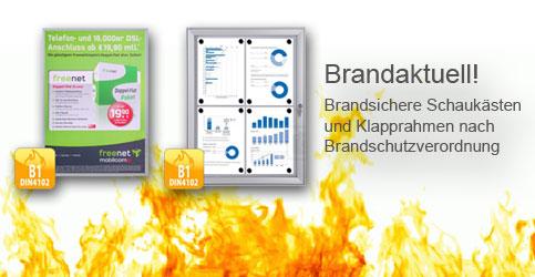 Klapprahmen Schaukasten B1 Brandschutz brandsicher